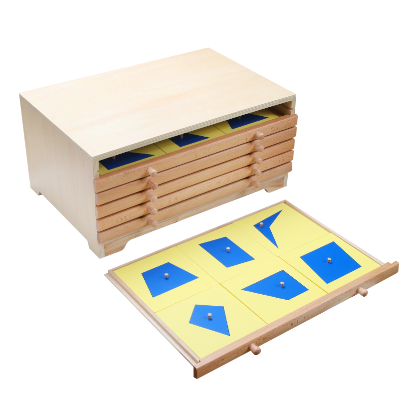 Six drawer geometric card cabinet